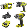 Ryobi One+ 3 Item Kit (R18PD, RID1801M, RFL180M)