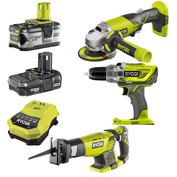 Ryobi R18AG-3GKIT One+ 3 Item Kit (R18AG0, RRS1801M, R18PD3)