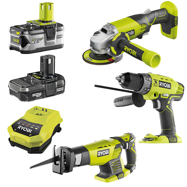 Ryobi One+ 3 Item Kit (R18AG0, RRS1801M, R18PD)