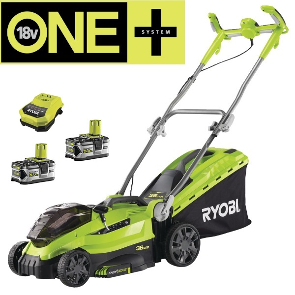 Ryobi RLM18X36250 18v Lawnmower Kit with 2 x 5Ah Batteries