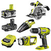 Ryobi One+ 4 Item Kit (R18CS, RCD1802M, CHV182M, CML180M)