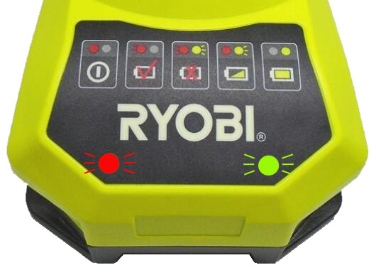 Ryobi battery charger flashing red and green