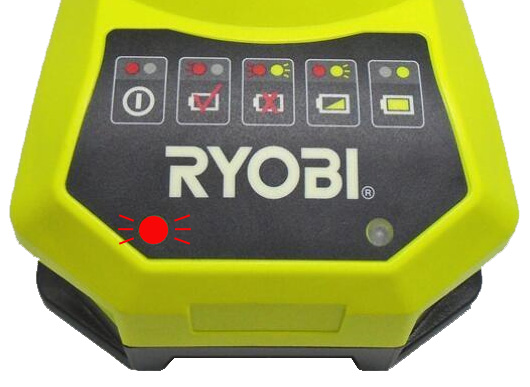 Ryobi battery charger flashing red