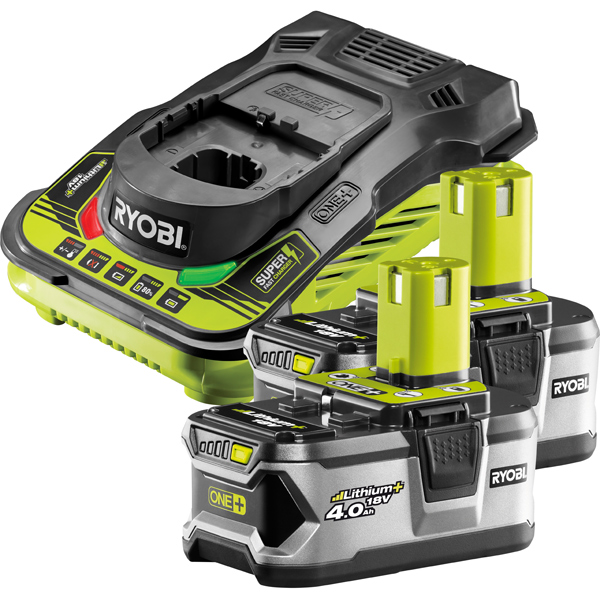 Ryobi RBC18L40/2 18V ONE+ Twin 4.0Ah Batteries and Charger Kit